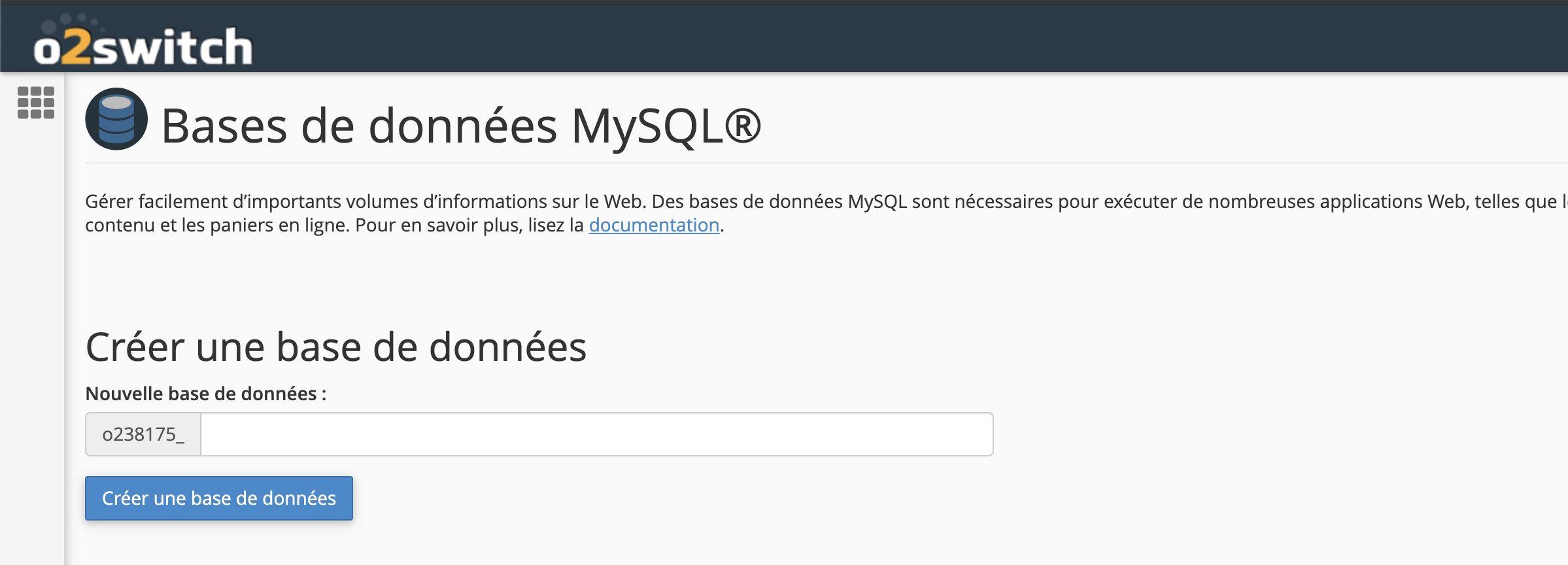 Panneau MySQL - O2switch