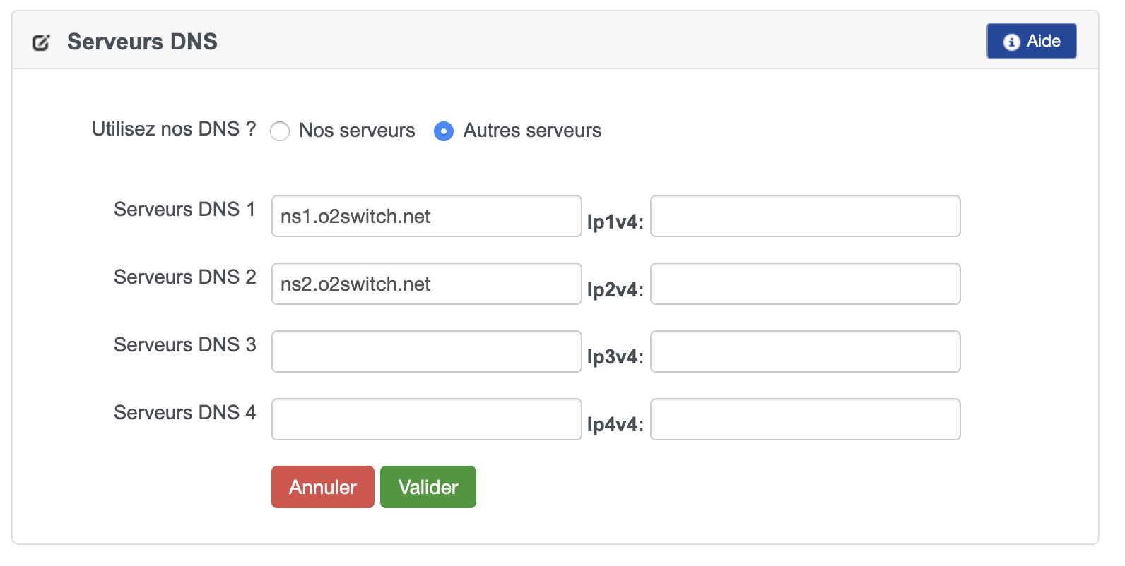 serveurs DNS o2switch