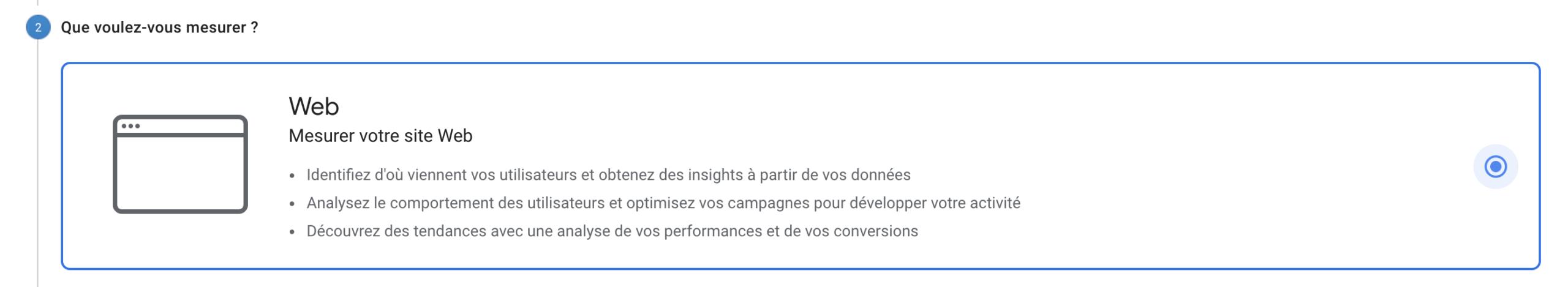 Type de propriété Google Analytics