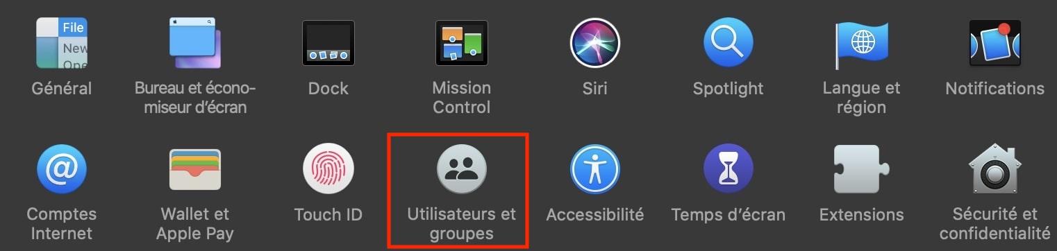 Utilisateurs et groupes Mac Os